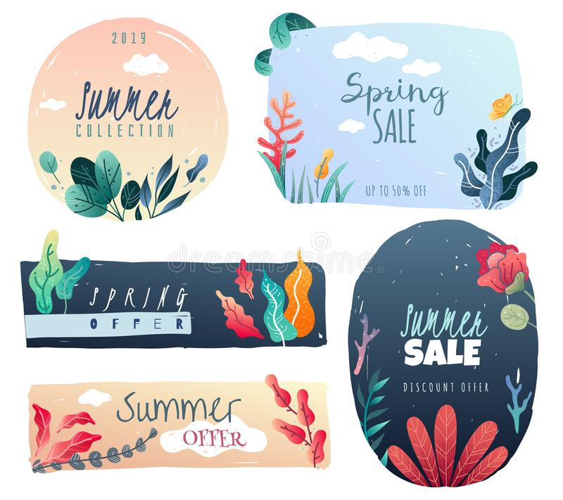 Spring summer decorative emblems. Drawn decorative elements. trending style. royalty free illustration