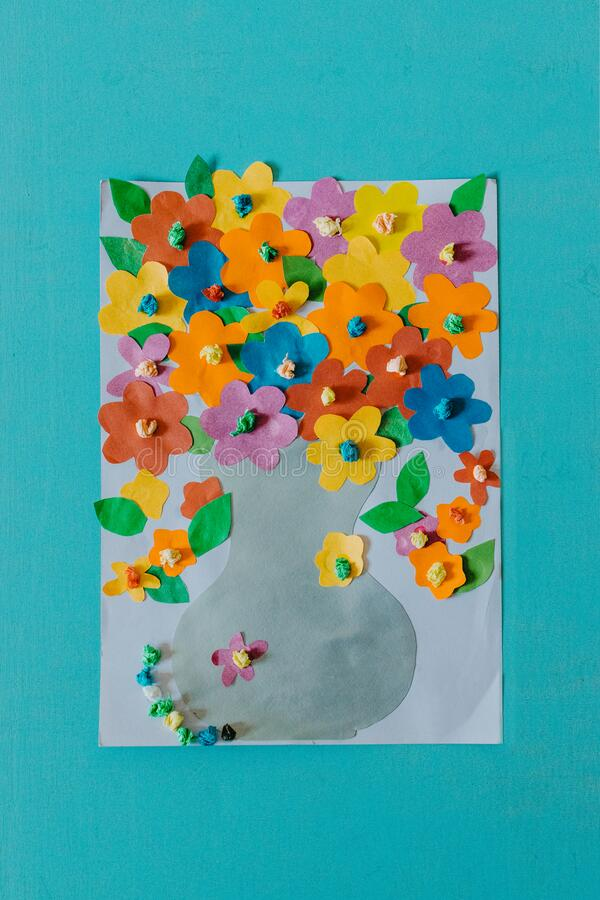 Spring, summer DIY kid paper craft ideas, preschool activities. Easy crafts ideas, creative paper projects for kids. Fun. Educational activities for children stock photos