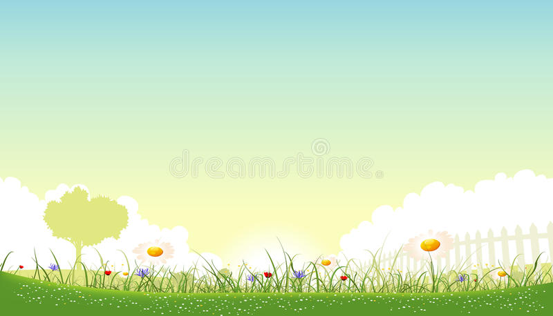 SPring And Summer Flowers Landscape