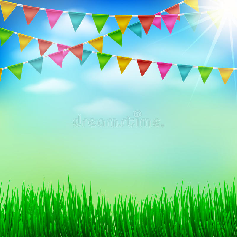 Spring and Summer garden party background with Bunting Triangle. Papers Flags, Grass,Blue sky and Sunlight.Use for Spring or Summer Season Outdoor Event and