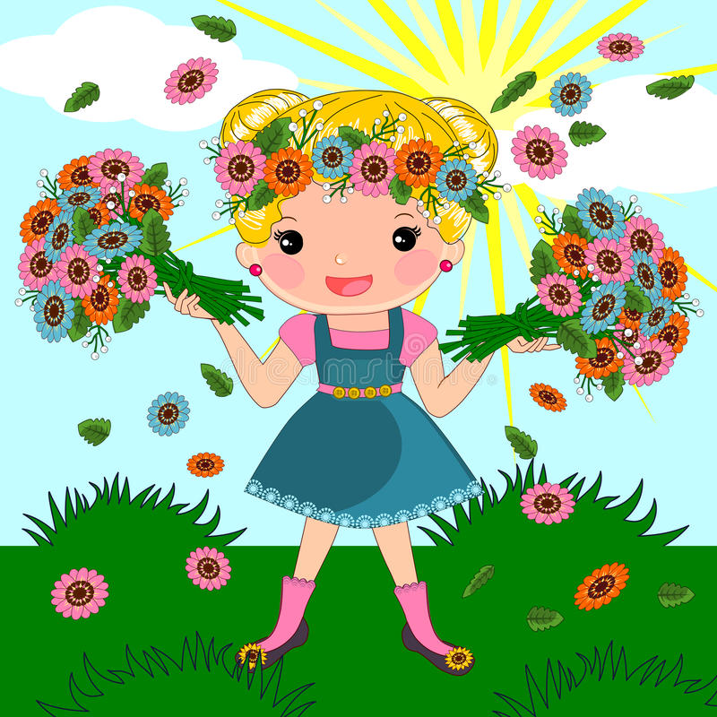 Spring summer girl royalty free illustration