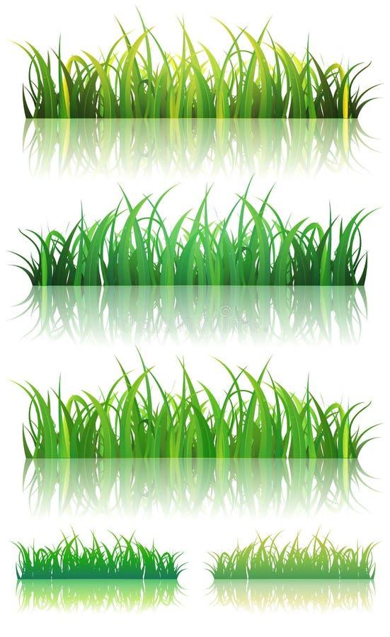 Spring Or Summer Green Grass Set royalty free illustration