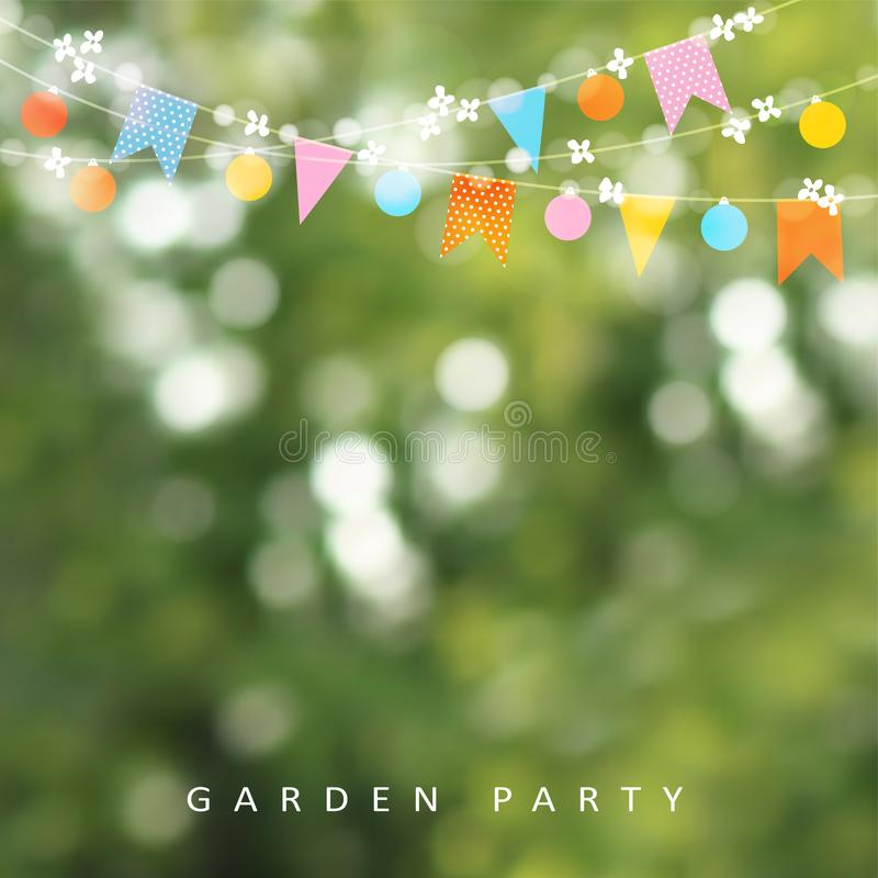 Spring or summer greeting card, invitation. String of lights, bunting flags and cherry blossoms. Modern blurred. Background. Birthday garden party decoration royalty free illustration