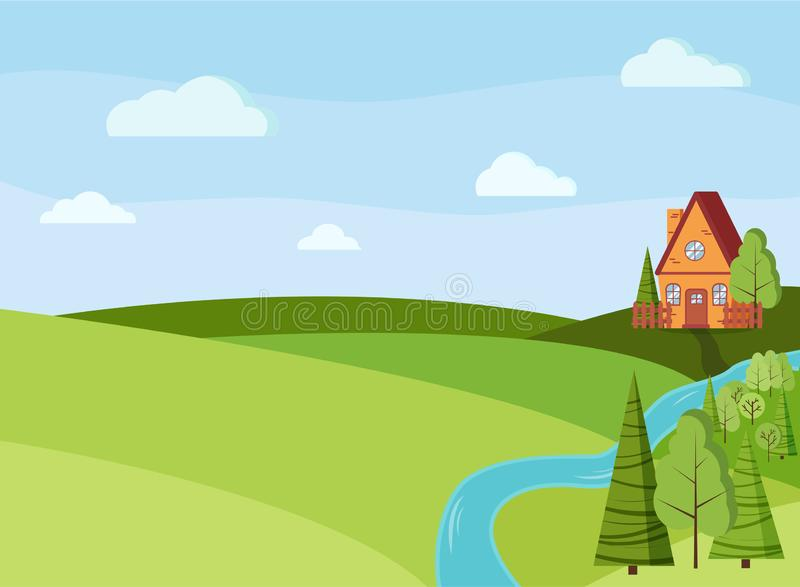 Spring or summer landscape scene with cartoon red brick country house, green trees, spruces, fields, clouds, river. In flat style. Summer nature scene vector royalty free illustration