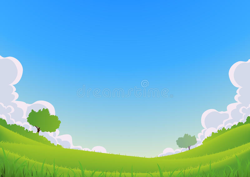 Spring And Summer Landscape - Wide Angle royalty free illustration