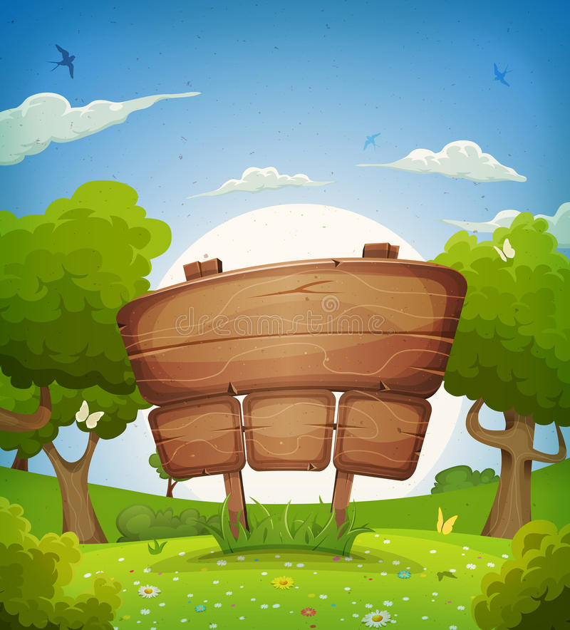 Spring And Summer Landscape With Wooden Sign vector illustration