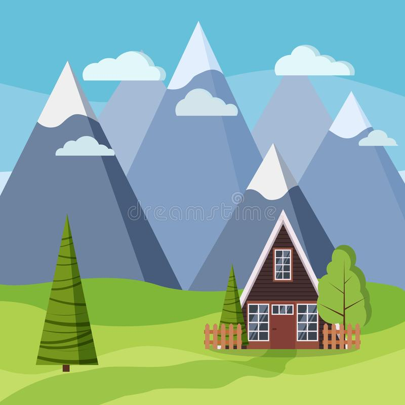 Spring or summer mountain landscape with wood country rural a-frame house vector illustration