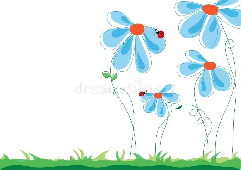 Spring, summer, nature scene: love story - ladybug climbing on a stock illustration