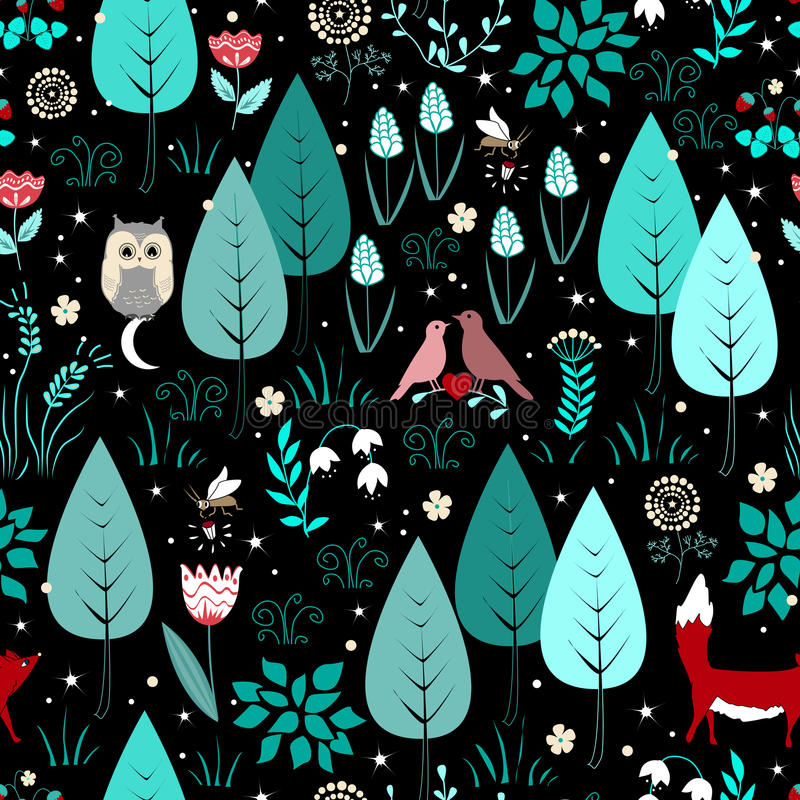 Spring or summer pattern with fox, birds, flowers, and trees. Cute magic forest background vector illustration
