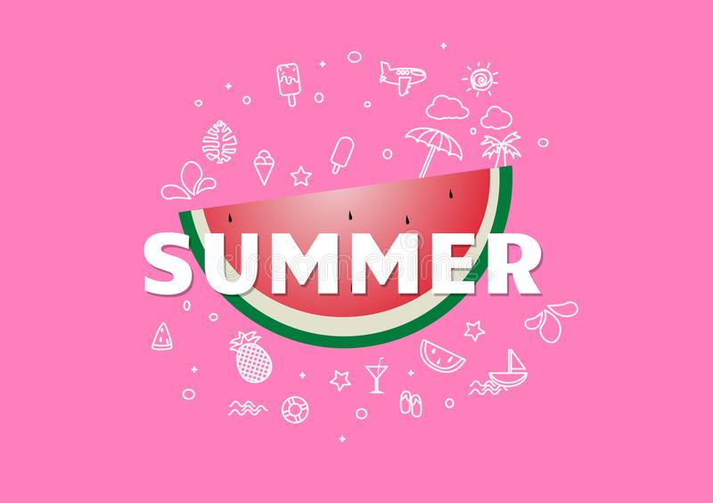 Spring Summer poster, banner Watermelon vector illustration, lettering and pink design for poster card vector illustration