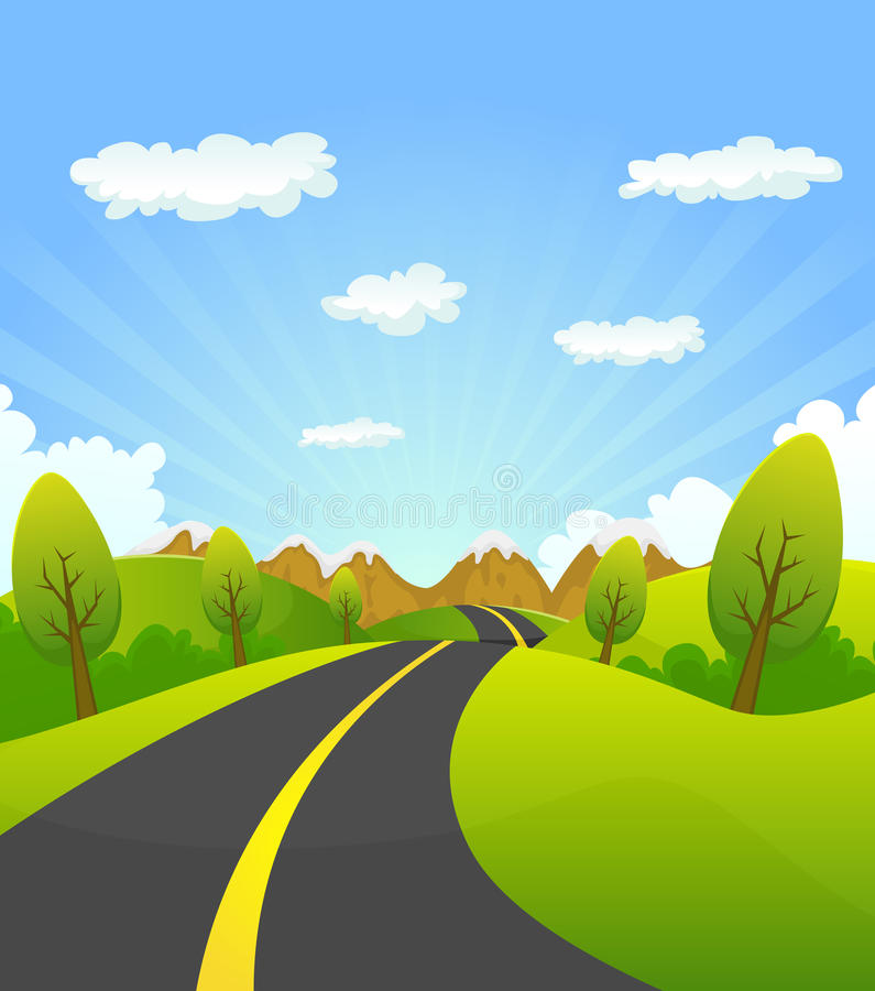 Spring Or Summer Road To The Mountain vector illustration
