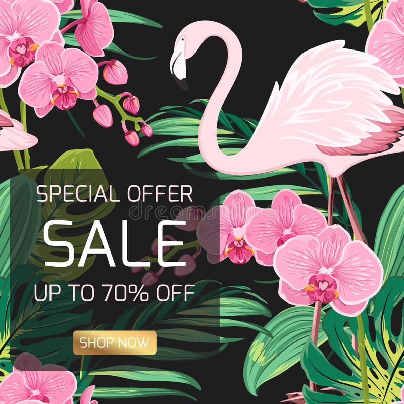 Sale banner orchid flowers jungle leaves flamingo vector illustration