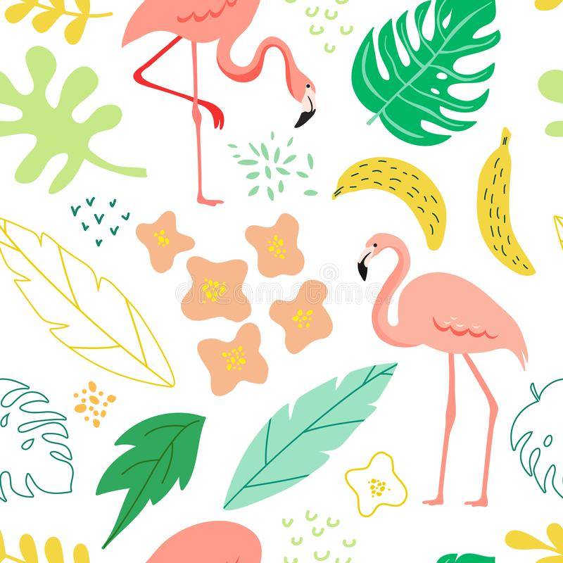 Spring and summer seamless background with flamingo, tropical plants, leaves, flowers for pattern, banner, greeting card, poster vector illustration