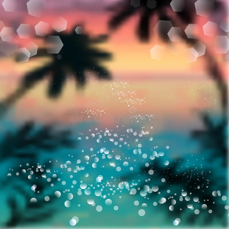 Spring and summer watercolor ocean background with shining sparks and bokeh. Vector Illustration, Graphic Design Editable For Your vector illustration