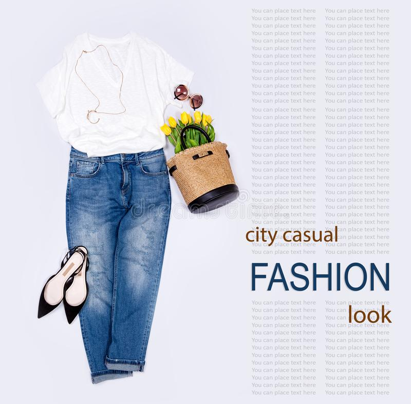 Spring summer woman casual city trend outfit royalty free stock photo