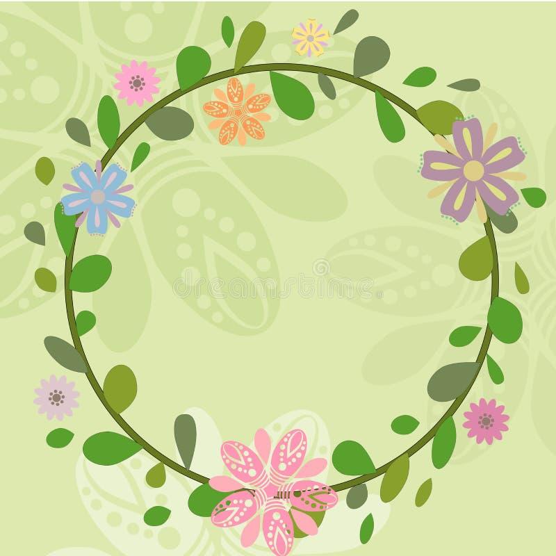 Spring summer wreath illustrations vector illustration
