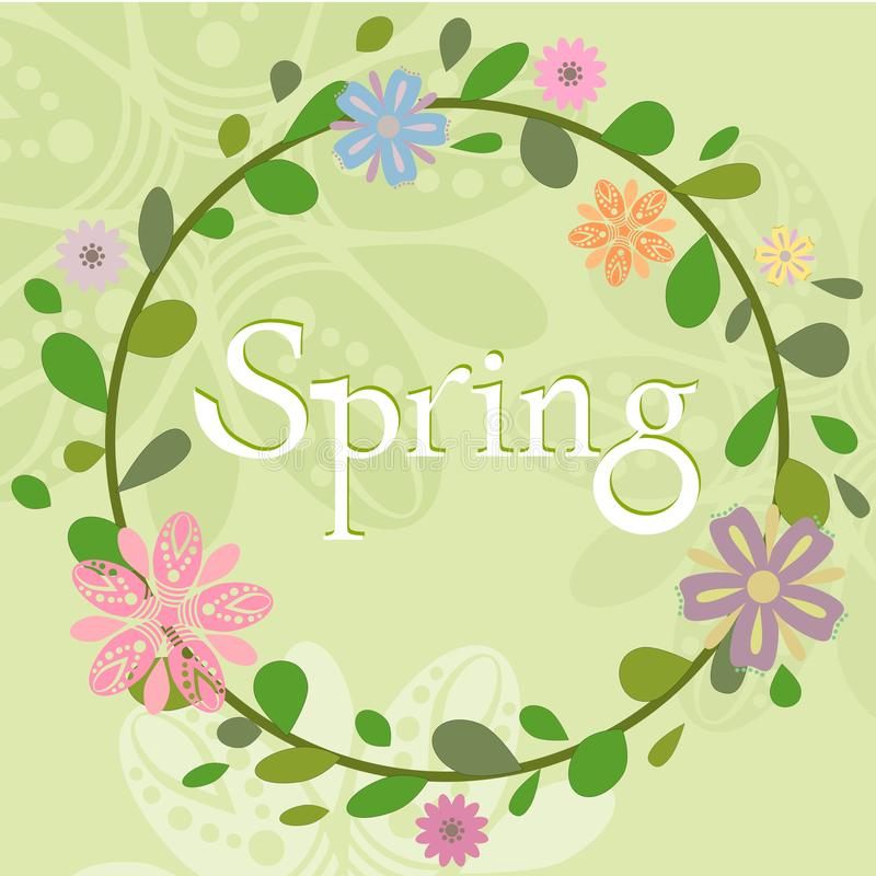 Spring summer wreath template royalty free illustration