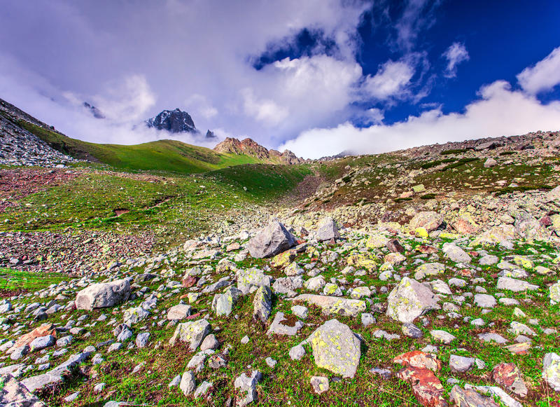 Spring sunny morning in Caucasus mountains royalty free stock image
