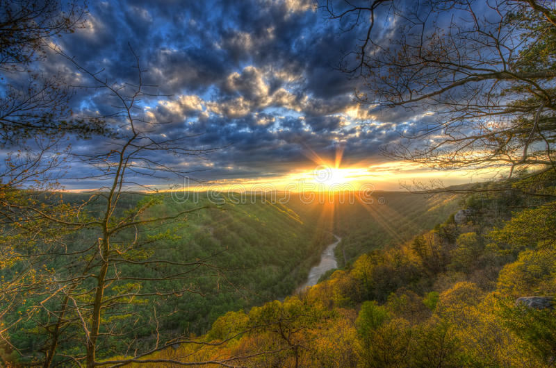 A Spring sunset on Beauty Mountain in West Virginia. stock photography
