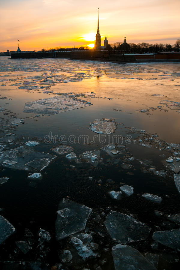 Spring sunset at Saint-Petersburg, Peter and Paul fortress stock photography