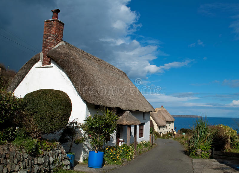 Cottages at Church Cove Cornwall stock images