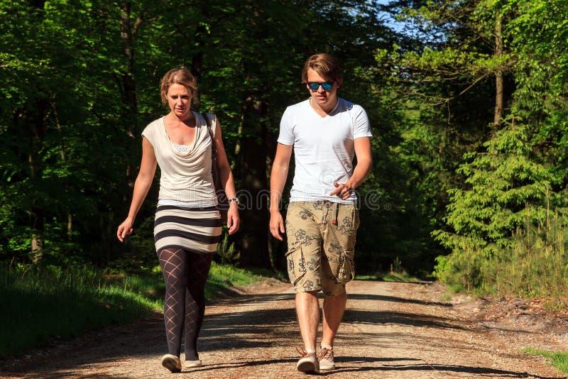 Spring sunshine walk stock images