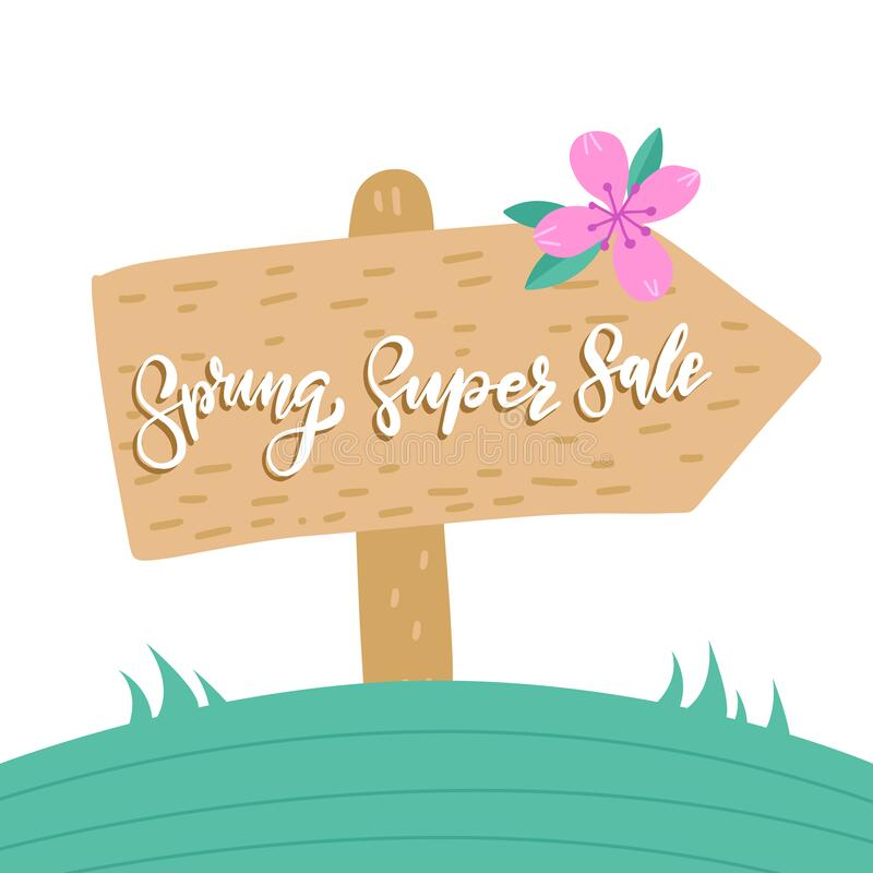 Spring Super Sale, wooden pointer with a hand written inscription on white background of a landscape of a landscape stock illustration