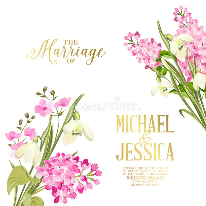 Spring syringa flowers background for the marriage card design. Blossom flower pattern for invitation card. royalty free illustration