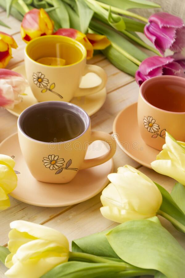 Spring tea party. A bouquet of pastel tulips of different colors, small colorful cups on light background. Vertical image royalty free stock images