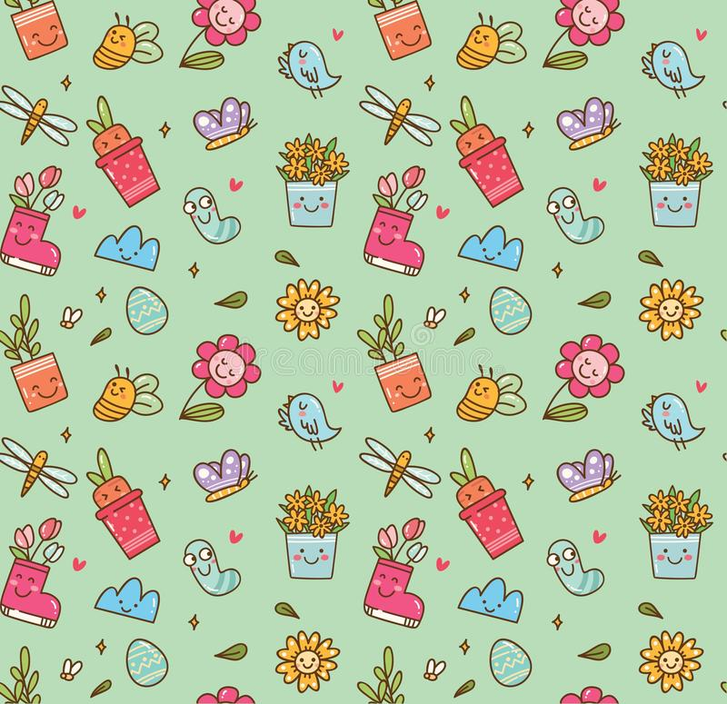 Spring themed seamless background in kawaii style vector royalty free illustration