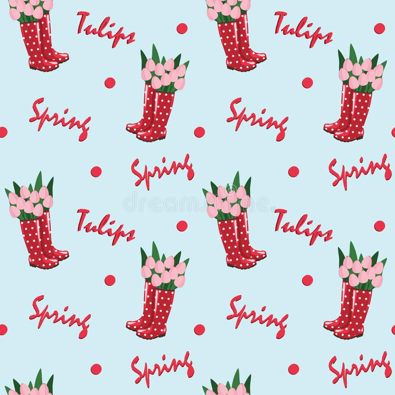 Seamless repeat pattern - red rubber boots with tulips and text `spring` / `tulips` on a light blue background. vector illustration