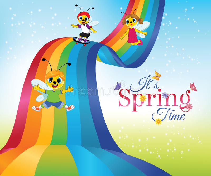 Spring Time. Card with cartoon bee characters sliding down rainbow stock illustration