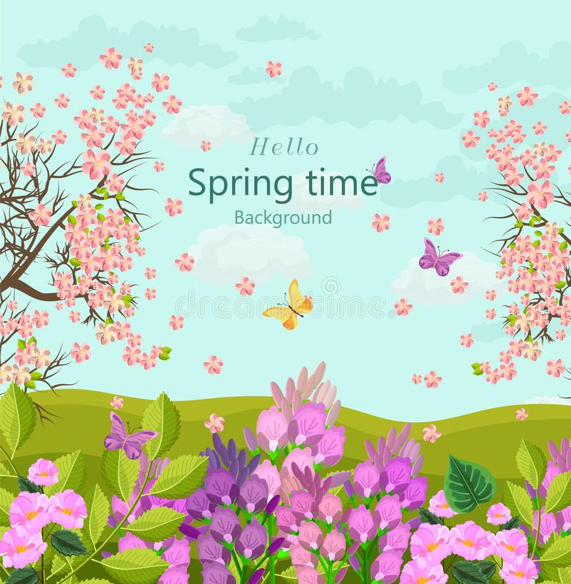 Spring time card with flowers Vector. floral background Flat styles. Spring time card with flowers Vector. floral background Flat style vector illustration