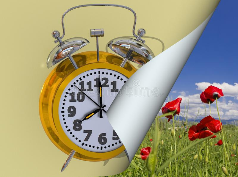 Spring time change clock yellow golden time alarm shandwows - 3d rendering vector illustration