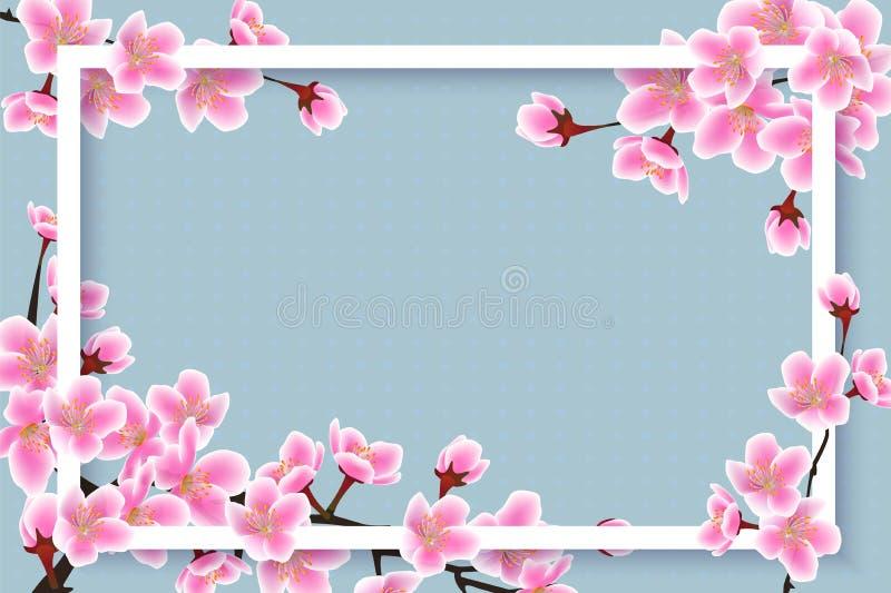 Spring time cherry blossom border - 3D frame with pink sakura flowers i vector illustration