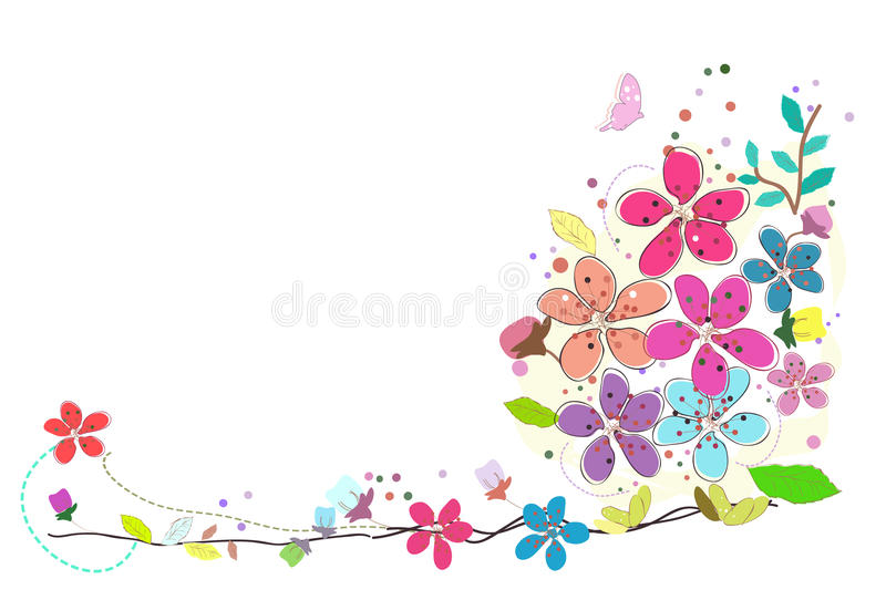 Spring time colorful abstract doodle flowers vector background. Spring time colorful abstract doodle flowers vector royalty free illustration