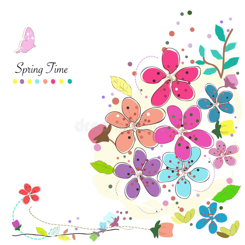 Spring time colorful abstract doodle flowers vector background. Spring time colorful abstract doodle flowers vector stock illustration