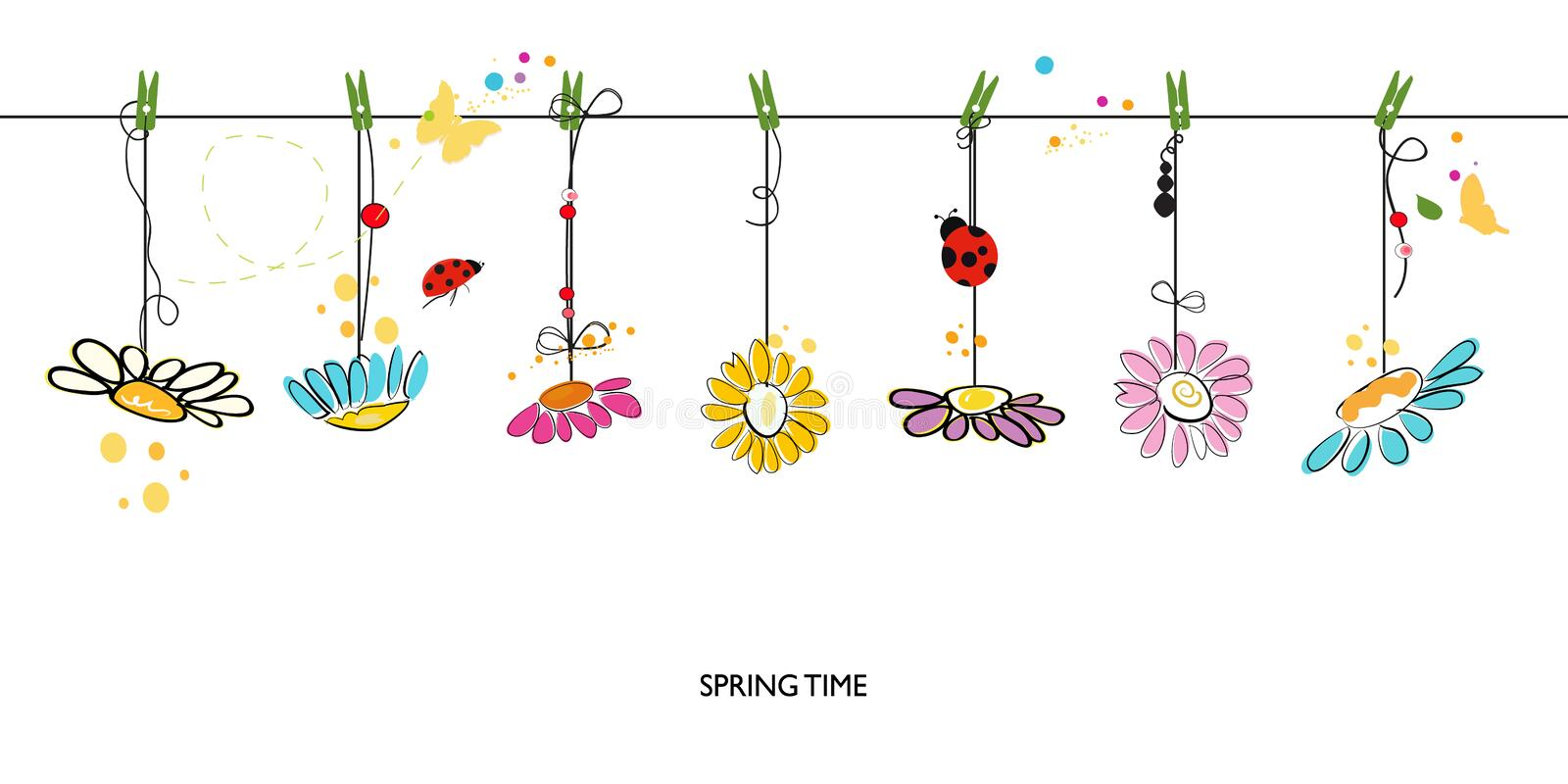 Spring Time Decorative Floral Abstract Border Background ...