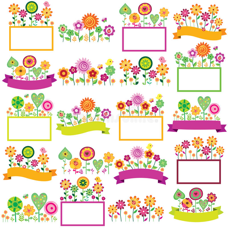 Spring time floral frames set stock illustration