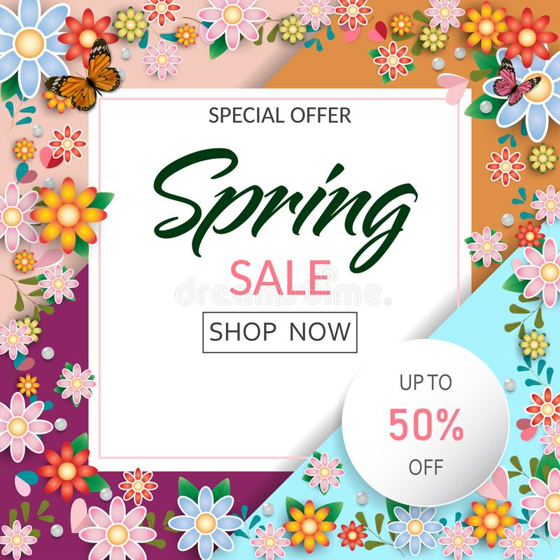 Free Spring Time Flowers Sale Banner And Background. Stock Photography - 143008192