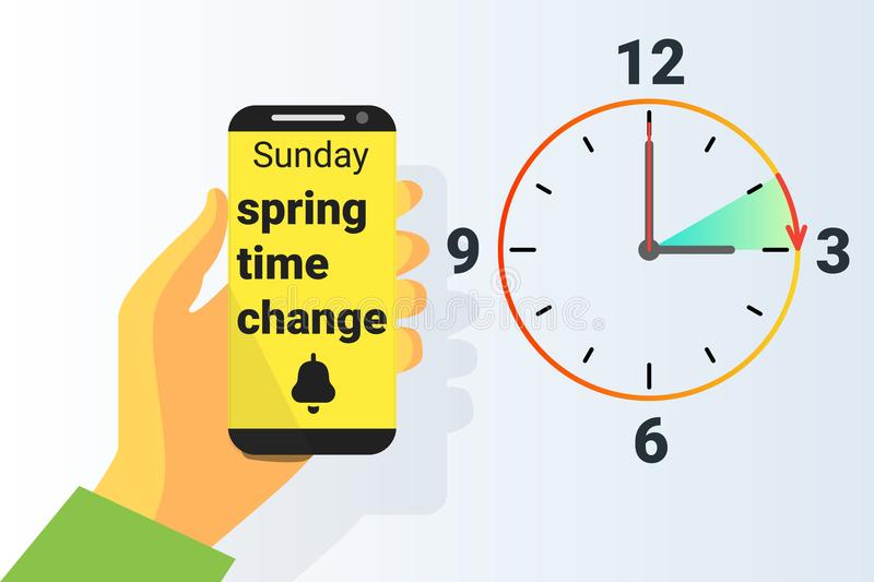 Spring Time forward. Summer clock change. Daylight saving time. Vector. Illustration vector illustration