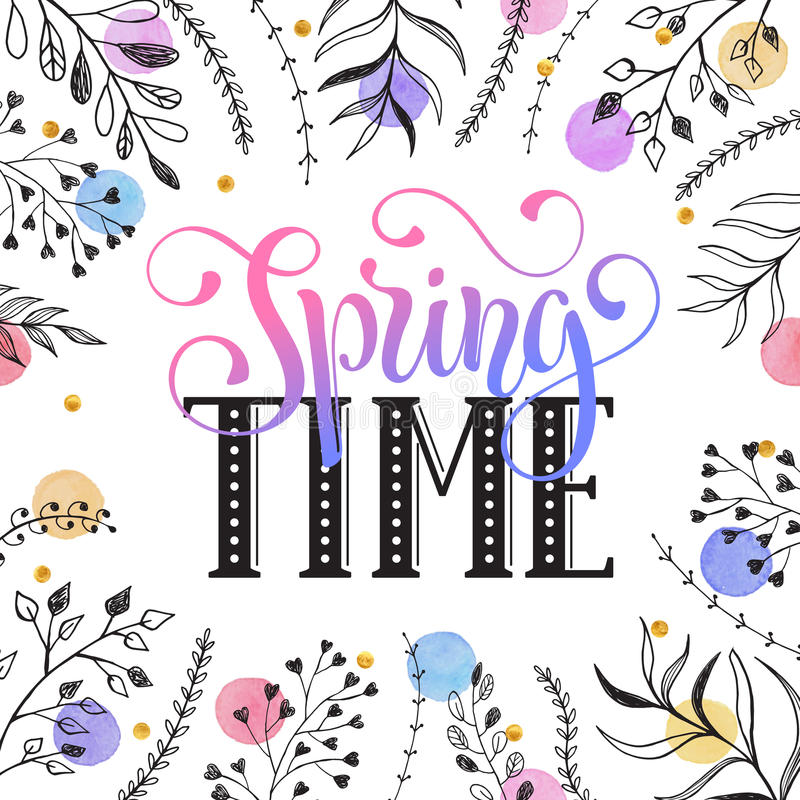 Spring time greeting cerd. Floral frame with Spring time text. Romantic template for greeting cards and invitation. Spring wording with doodle leaves and royalty free illustration