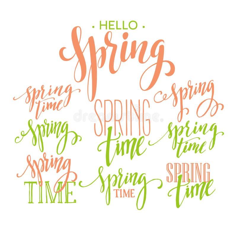 Spring Time, Hello Spring lettering set. Vector illustration royalty free illustration