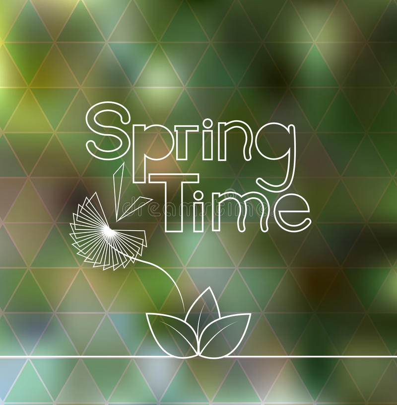Spring time lettering blurred background with geometric triangle pattern. Vector illustration stock illustration