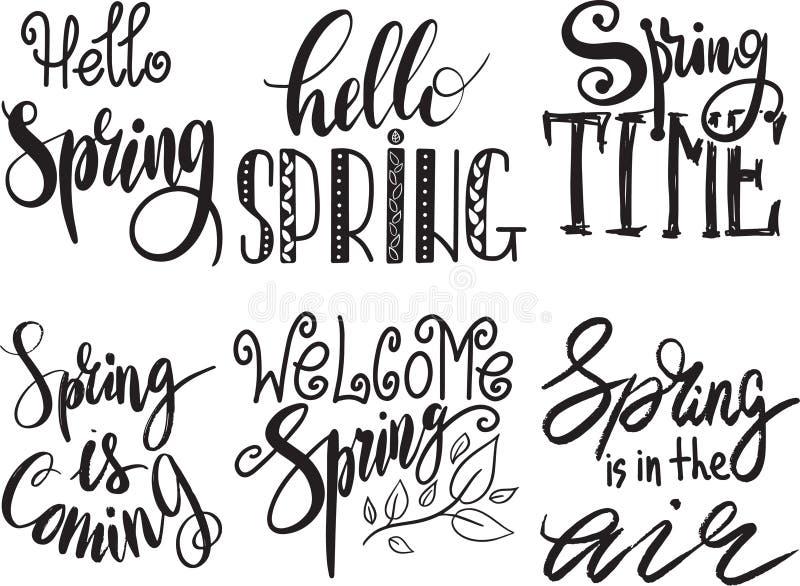 Spring time lettering greeting set special springtime typography vector illustration. Spring time handmade text quote. Spring time lettering greeting cards set vector illustration