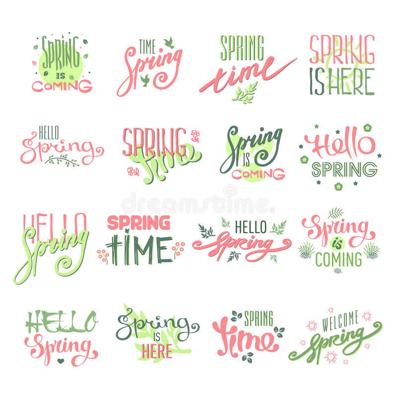 Spring time lettering text for greeting card special spring typography and art hand drawn nature greeting phrase vintage royalty free illustration