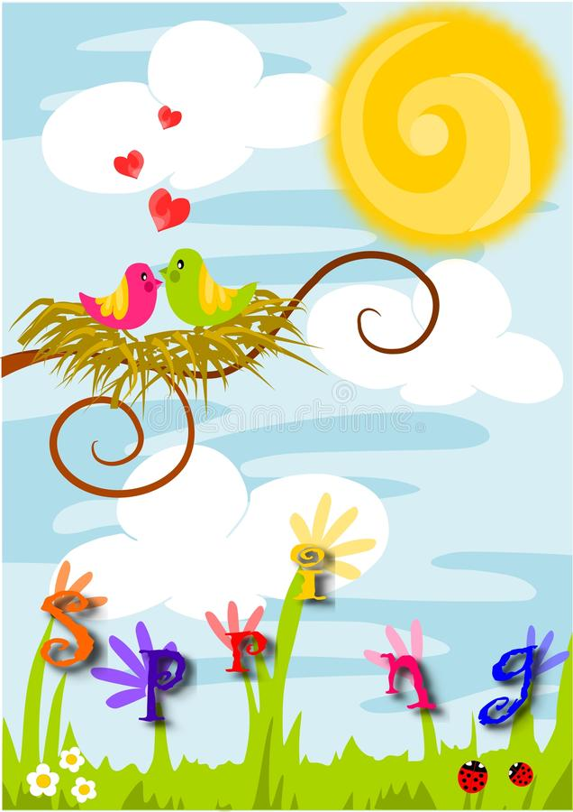 Spring time, love in the air. Beauty colorful illustration - spring time, love in the air stock illustration