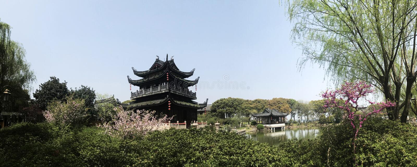 Spring time Shanghai oriental architecture building. Historical oriental ancient architecture building during one day outskirts trip in Shanghai royalty free stock photo