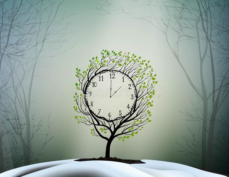 Spring time, spring clock, magic. Clock tree growing on soil in march day, vector vector illustration