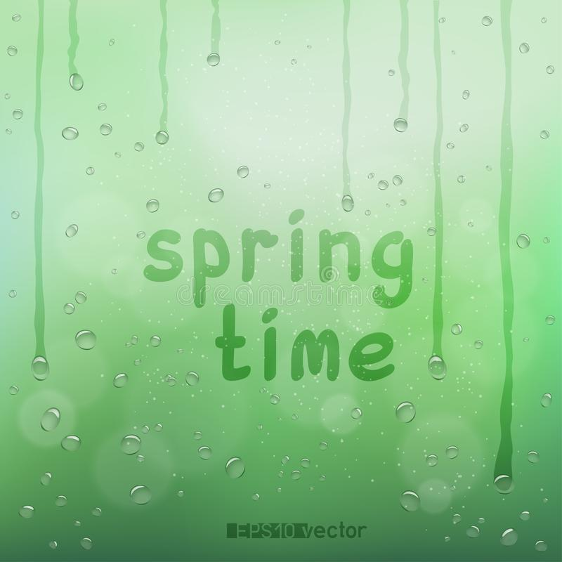 Spring time text on blurry rain bokeh. Spring time text on green blurry rain bokeh wet background. Nature blurred spring or summer abstract water bubbles design stock illustration